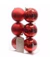 Kerst kerstballen rood 6 cm elegant christmas 6 stuks