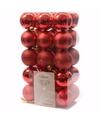 Kerst kerstballen rood mix 6 cm elegant christmas 30 stuks
