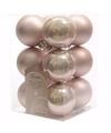 Kerst kerstballen roze 6 cm sweet christmas 12 stuks