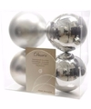 Kerst kerstballen zilver 10 cm ambiance christmas 4 stuks