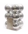 Kerst kerstballen zilver 6 cm christmas silver 12 stuks