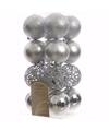 Kerst kerstballen zilver 6 cm elegant christmas 16 stuks