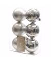 Kerst kerstballen zilver 6 cm mystic christmas 6 stuks