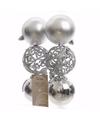 Kerst kerstballen zilver mix 6 cm christmas silver 6 stuks