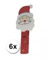 Houten kerstman knijpers 6 stuks