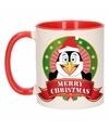 Kerst mok beker met pinguin print 300 ml