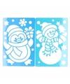 Kerst raamsjablonen sneeuwpop pinguin 25 cm 2 stuks