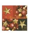 Kerst servetten merry christmas rood goud 20 stuks
