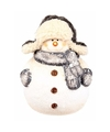 Kerst sneeuwpop beeldje 13 cm met sjaal