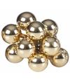 Kerst steker gouden mini kerstballen 10 stuks