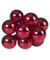 Kerst steker rode mini kerstballen 10 stuks