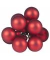 Kerst steker rode mini kerstballen mat 10 stuks