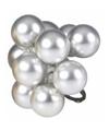 Kerst steker zilveren mini kerstballen mat 10 stuks