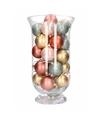 Kerst woondecoratie kelkvaas met roze gouden kerstballen