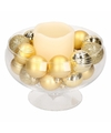 Kerst woondecoratie ronde vaas met led kaars en kerstballen goud