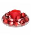 Kerst woondecoratie ronde vaas met rode led kaars en kerstballen