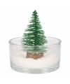 Kerst woondecoratie schaal met glitter boompje groen