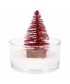 Kerst woondecoratie schaal met glitter boompje rood