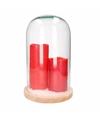 Kerst woondecoratie stolp met 2 rode led kaarsen