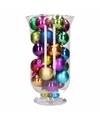 Kerst woondecoratie vaas met felgekleurde kerstballen