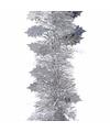 Kerst zilveren hulst folieslinger christmas silver 270 cm