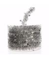 Kerst zilveren sterren folieslinger christmas silver 700 cm