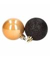 Kerst zwart gouden kerstballen mix stylish christmas 12 stuks