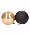 Kerst zwart gouden kerstballen mix stylish christmas 6 stuks