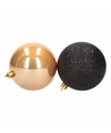 Kerst zwart gouden kerstballen mix stylish christmas 9 stuks