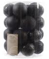 Zwarte kerstballen assorti 26 stuks