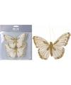 Kerstboom deco vlinder op clip goud 2 stuks