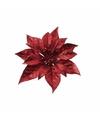 Kerstboom decoratie bloem rood 18 cm