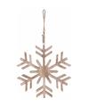 Kerstboom decoratie bruin houten sneeuwvlok hanger 20 cm