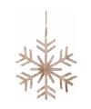 Kerstboom decoratie bruin houten sneeuwvlok hanger 30 cm