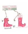 Kerstboom decoratie fuchsia roze schaatsen hangers 10 cm 2 stuks