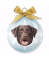 Kerstboom decoratie kerstbal dog labrador chocolate 8 cm
