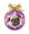 Kerstboom decoratie kerstbal hond mopshond 8 cm