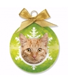 Kerstboom decoratie kerstbal kat poes rood tabby 8 cm