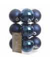 Kerstboom decoratie kerstballen mix blauw 12 stuks
