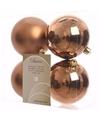 Kerstboom decoratie kerstballen mix brons 4 stuks
