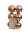Kerstboom decoratie kerstballen mix brons 6 stuks