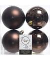 Kerstboom decoratie kerstballen mix bruin 4 stuks