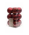 Kerstboom decoratie kerstballen mix donker rood 12 stuks