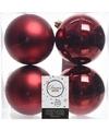 Kerstboom decoratie kerstballen mix donker rood 4 stuks