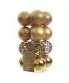 Kerstboom decoratie kerstballen mix goud 16 stuks