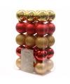 Kerstboom decoratie kerstballen mix goud rood 30 stuks
