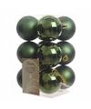 Kerstboom decoratie kerstballen mix groen 12 stuks