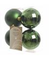 Kerstboom decoratie kerstballen mix groen 4 stuks