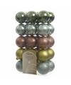 Kerstboom decoratie kerstballen mix groen bruin 30 stuks
