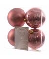 Kerstboom decoratie kerstballen mix oud roze 4 stuks
